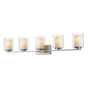 Willow Brushed Nickel Five-Light Vanity Fixture
