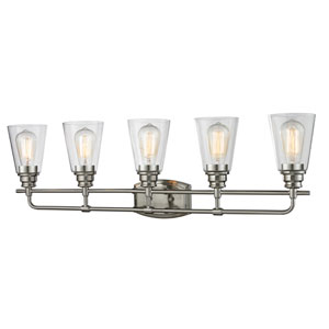Annora Brushed Nickel Five-Light Vanity Fixture