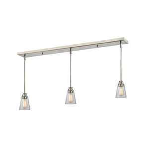 Annora Brushed Nickel 47.5-Inch Three-Light Billiard Pendant with Clear Glass