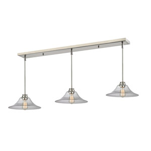 Annora Brushed Nickel 56-Inch Three-Light Billiard Pendant with Clear Glass