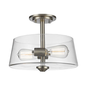 Annora Brushed Nickel Two-Light Semi Flush Mount