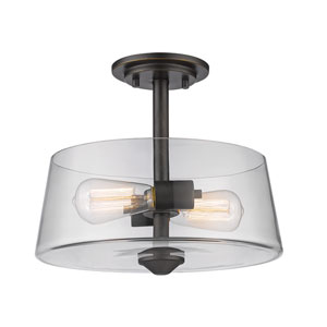 Annora Old Bronze Two-Light Semi Flush Mount