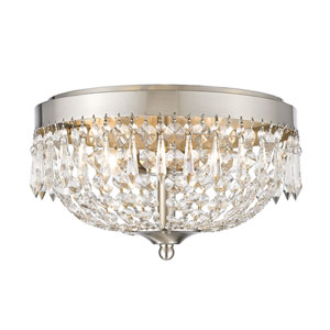 Danza Brushed Nickel Four-Light Flush Mount with Clear Crystal