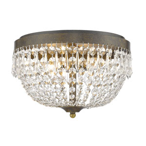 Danza Golden Bronze Four-Light Flush Mount with Clear Crystal