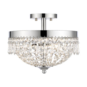 Danza Chrome Three-Light Semi Flush Mount with Clear Crystal