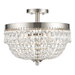 Danza Brushed Nickel Four-Light Semi Flush Mount with Clear Crystal