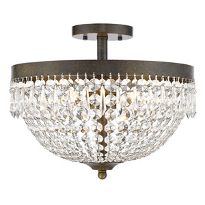 Danza Golden Bronze Four-Light Semi Flush Mount with Clear Crystal