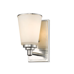 Jarra Brushed Nickel One-Light Wall Sconce with White Glass