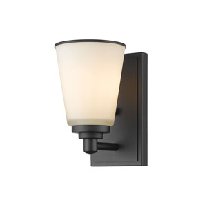 Jarra Bronze One-Light Wall Sconce with White Glass