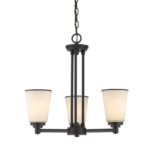 Jarra Bronze Three-Light Chandelier with White Glass