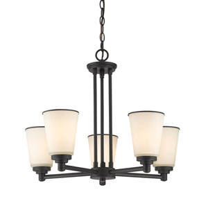 Jarra Bronze Five-Light Chandelier with White Glass