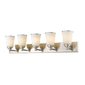 Jarra Brushed Nickel Five-Light Vanity with White Glass