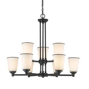 Jarra Bronze Nine-Light Chandelier with White Glass