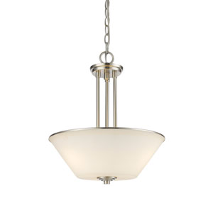 Jarra Brushed Nickel Three-Light Pendant with White Glass
