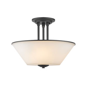 Jarra Bronze Three-Light Semi Flush Mount with White Glass