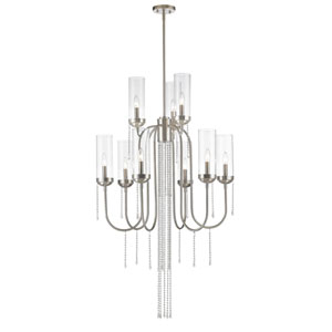 Siena Brushed Nickel Nine-Light Chandelier with Clear Glass