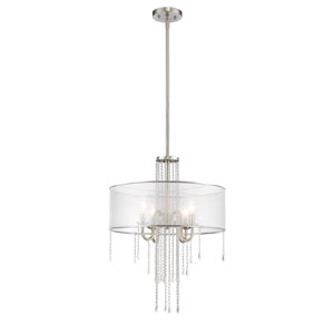 Siena Brushed Nickel Four-Light Pendant with Semi Clear Organza Shade