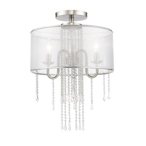 Siena Brushed Nickel Three-Light Semi Flush Mount with Semi Clear Organza Shade