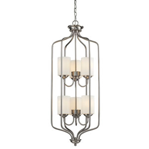 Cardinal Brushed Nickel Fifteen-Inch Chandelier