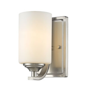 Bordeaux Brushed Nickel One-Light Wall Sconce with Matte Opal Glass
