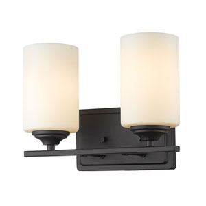 Bordeaux Bronze Two-Light Vanity with Matte Opal Glass