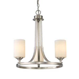 Bordeaux Brushed Nickel Three-Light Chandelier with Matte Opal Glass