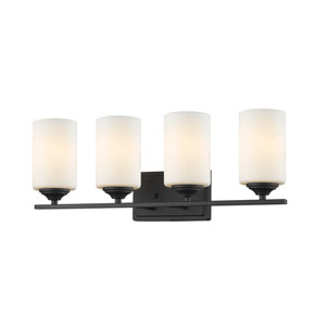 Bordeaux Bronze Four-Light Vanity with Matte Opal Glass
