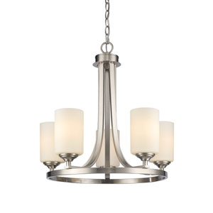 Bordeaux Brushed Nickel Five-Light Chandelier with Matte Opal Glass