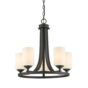 Bordeaux Bronze Five-Light Chandelier with Matte Opal Glass