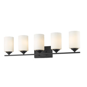 Bordeaux Bronze Five-Light Vanity with Matte Opal Glass