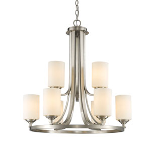 Bordeaux Brushed Nickel Nine-Light Chandelier with Matte Opal Glass