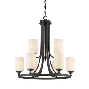 Bordeaux Bronze Nine-Light Chandelier with Matte Opal Glass