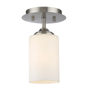 Bordeaux Brushed Nickel One-Light Flush Mount with Matte Opal Glass