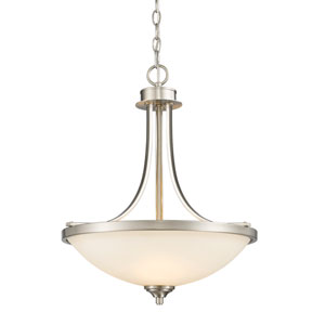 Bordeaux Brushed Nickel Three-Light Pendant with Matte Opal Glass