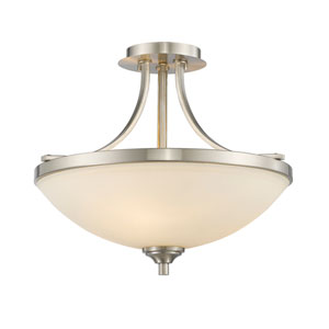 Bordeaux Brushed Nickel Three-Light Semi Flush Mount with Matte Opal Glass