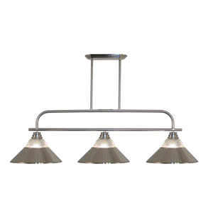 Annora Brushed Nickel Three-Light Billiard Pendant with Clear Ribbed Glass and Brushed Nickel Shades