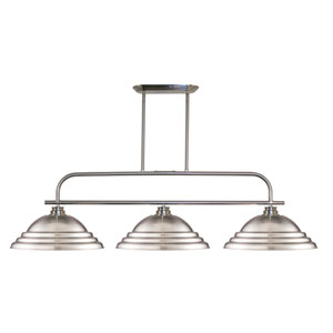 Annora Brushed Nickel Three-Light Billiard Pendant with Stepped Brushed Nickel Shades