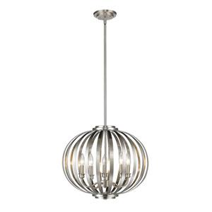 Moundou Brushed Nickel Five-Light Globe Pendant