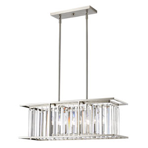 Monarch Brushed Nickel Five-Light Linear Pendant