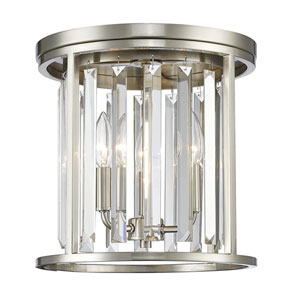 Monarch Brushed Nickel 12-Inch Three-Light Flush Mount