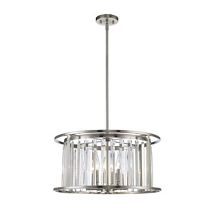 Monarch Brushed Nickel Six-Light Drum Pendant