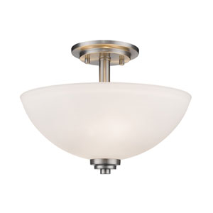 Ashton Brushed Nickel Three-Light Semi Flush Mount