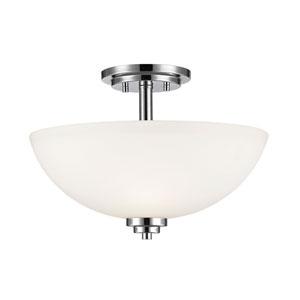 Ashton Chrome Three-Light Semi Flush Mount