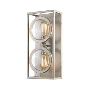 Port Antique Silver 9-Inch Two-Light Wall Sconce