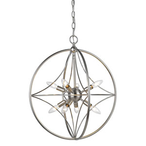 Cortez Brushed Nickel 20-Inch Eight-Light  Pendant