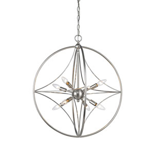 Cortez Brushed Nickel 24-Inch Eight-Light  Pendant