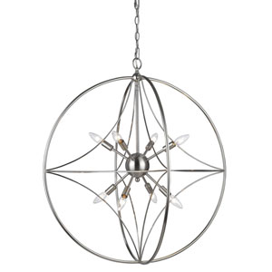 Cortez Brushed Nickel 30-Inch Eight-Light  Pendant