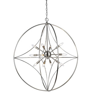 Cortez Brushed Nickel 36-Inch Twelve-Light  Pendant