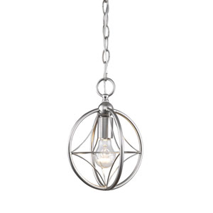Cortez Brushed Nickel 8-Inch One-Light  Mini Pendant