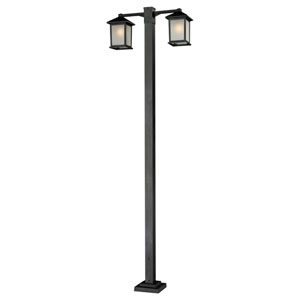 Holbrook Two-Light Black Double-Head Outdoor Post with White Seedy Glass Panels